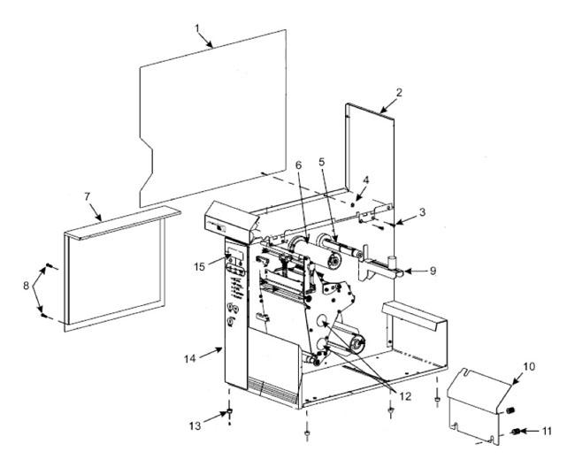 Детали корпуса и лентопротяжного механизма для термопринтера Zebra 105SL