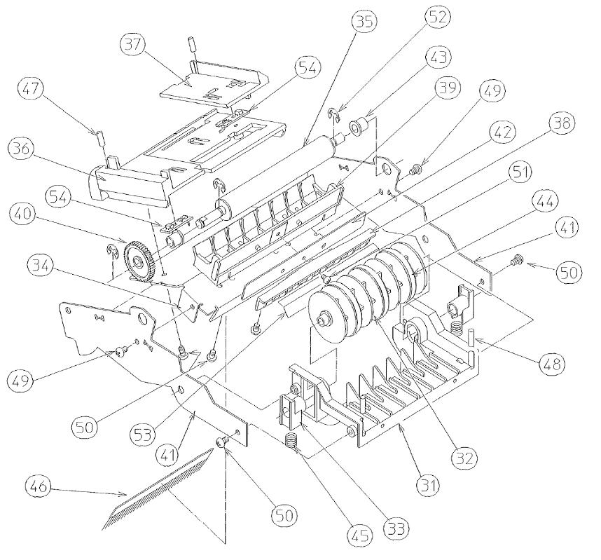 Чертеж механизма протяжки ленты термопринтера Citizen PPU 700 II