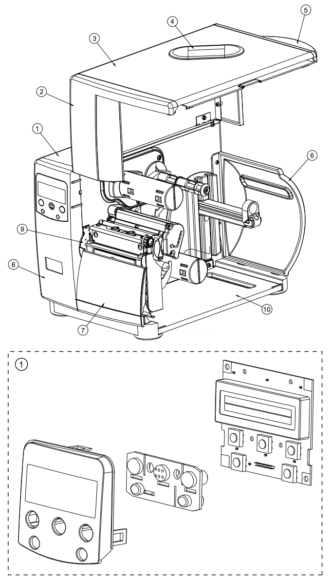 Корпус Datamax I-4208, Запчасти корпуса Datamax I-4208, Комплектующие корпуса Datamax I-4208