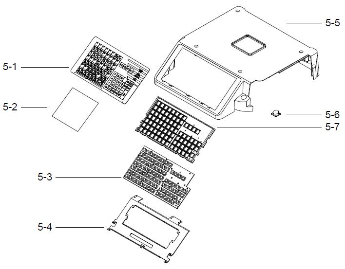Детали (запчасти) верхней крышки весов (корпус, клавиатура, клавиатурная накладка) весов DIGI SM-300 Pole. Сборочный чертеж.