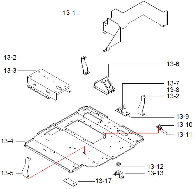 Детали (запчасти) основания (базы) весов DIGI SM-300 Pole. Сборочный чертеж.