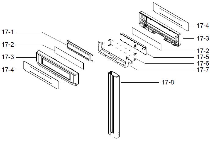 Детали (запчасти) дисплейного модуля (дисплей оператора, дисплей покупателя, корпус дисплея, стекло дисплея, накладки на дисплей, стойка, крепление, винты) весов DIGI SM-300 Pole. Сборочный чертеж.