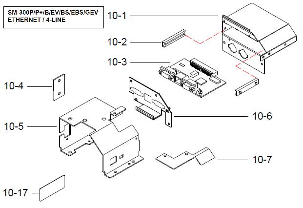 Детали (запчасти) узла интерфейсного модуля (интерфейс Ethenet/4-line, крепление, винты) весов DIGI SM-300 Pole. Сборочный чертеж.