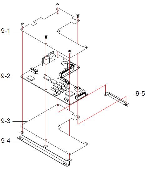 Детали (запчасти) узла материнской платы (материнская плата, крепление, винты) весов DIGI SM-300 Pole. Сборочный чертеж.