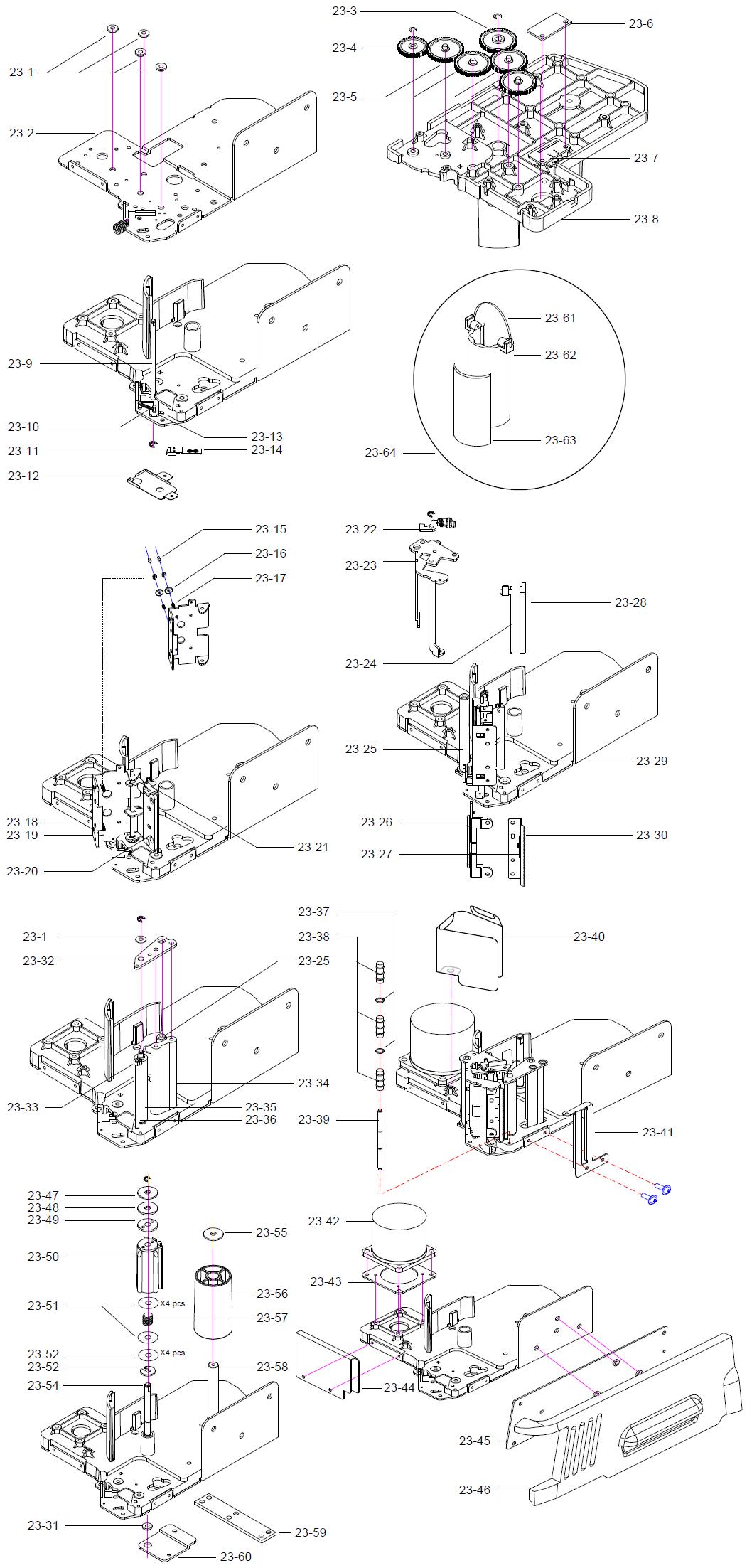 Детали (запчасти) принтерного узла (печатающая термоголовка, ведущий валик, двигатель, зажим ленты, катушка подложки этикетки, катушка смотки, несущая вала бумаги, основание вала бумаги, боковая крышка, шестерня ВА, шестерня ВВ, шестерня ВС, фетровая прокладка, крепление, винты) весов DIGI SM-300 Pole. Сборочный чертеж.