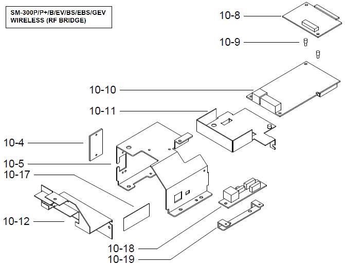 Детали (запчасти) узла интерфейсного модуля (интерфейс беспроводной связи Wireless (RF bridge), крепление, винты) весов DIGI SM-300 Pole. Сборочный чертеж.