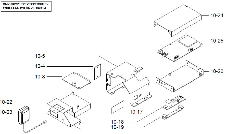 Детали (запчасти) узла интерфейсного модуля (интерфейс беспроводной связи Wireless (WLAN AP1001G), крепление, винты) весов DIGI SM-300 Pole. Сборочный чертеж.